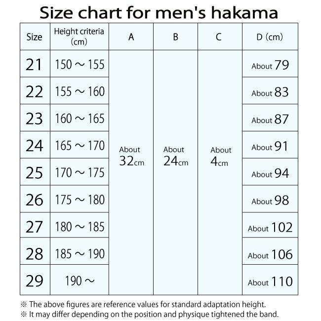 男性用袴サイズ表
